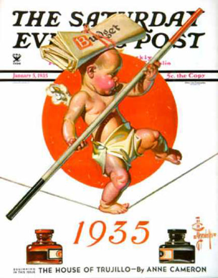 Saturday Evening Post Copyright 1935 Balance The Budget | Vintage Ad and Cover Art 1891-1970