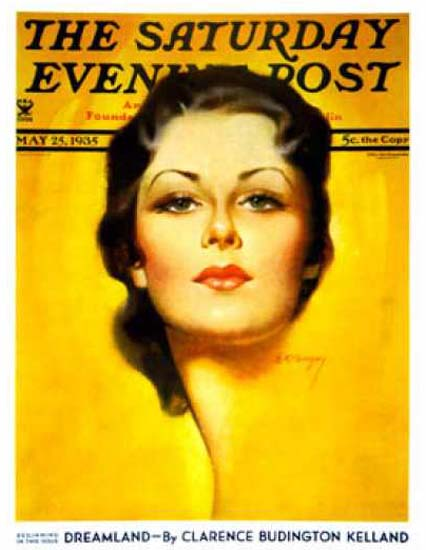 Saturday Evening Post Copyright 1935 Brunette E K Bergey | Sex Appeal Vintage Ads and Covers 1891-1970