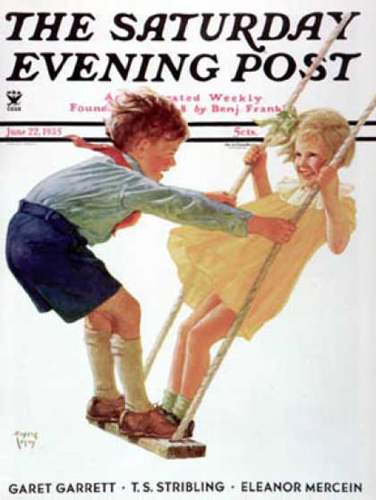 Saturday Evening Post Copyright 1935 Children On Swing | Vintage Ad and Cover Art 1891-1970