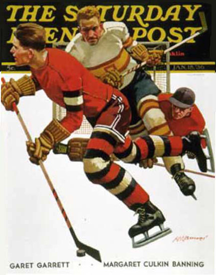 Saturday Evening Post Copyright 1936 Ice Hockey Match | Vintage Ad and Cover Art 1891-1970