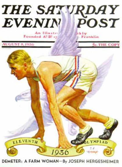 Saturday Evening Post Copyright 1936 Olympiad Berlin | Vintage Ad and Cover Art 1891-1970