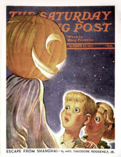 Saturday Evening Post Copyright 1937 Trick Or Treaters   Vintage Ad and Cover Art 1891-1970