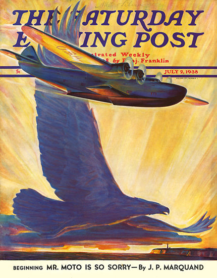 Saturday Evening Post Copyright 1938 Waterplane Eagle | Vintage Ad and Cover Art 1891-1970
