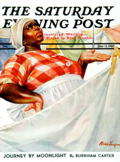 Saturday Evening Post Copyright 1940 Rain Laundry Day | Vintage Ad and Cover Art 1891-1970