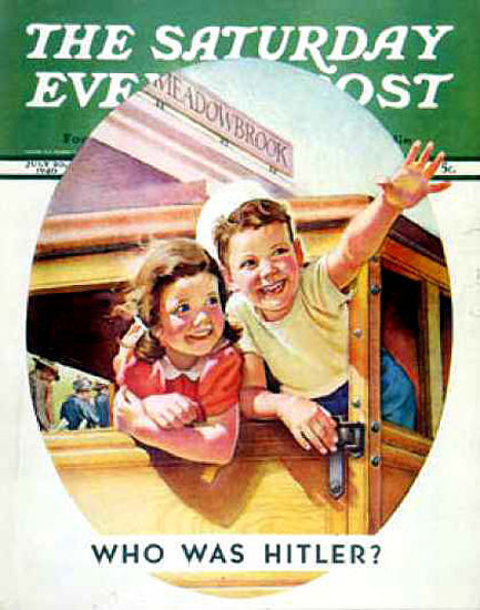 Saturday Evening Post Copyright 1940 Who Was Hitler Kids | Vintage Ad and Cover Art 1891-1970