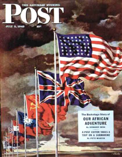 Saturday Evening Post Copyright 1943 Allied Forces Flags | Vintage Ad and Cover Art 1891-1970