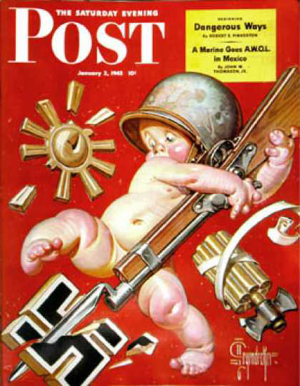 Saturday Evening Post Copyright 1943 Baby New Year War | Vintage Ad and Cover Art 1891-1970