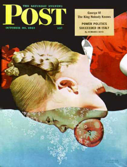Saturday Evening Post Copyright 1943 Bobbing for Apples | Vintage Ad and Cover Art 1891-1970