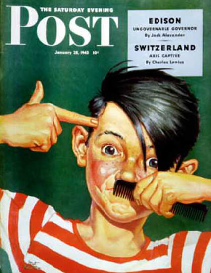 Saturday Evening Post Copyright 1943 Boy Mimicking Hitler   Vintage Ad and Cover Art 1891-1970