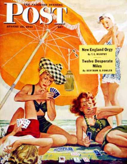 Saturday Evening Post Copyright 1943 Card Game At Beach | Sex Appeal Vintage Ads and Covers 1891-1970