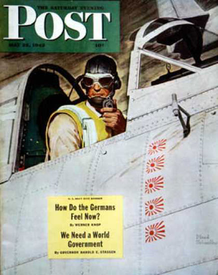 Saturday Evening Post Copyright 1943 Fighter Pilot | Vintage Ad and Cover Art 1891-1970