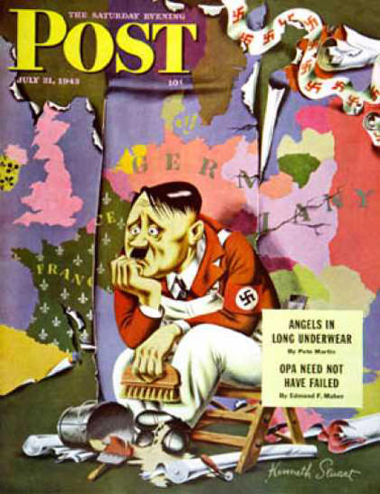 Saturday Evening Post Copyright 1943 Hitler Wallpaperer   Vintage Ad and Cover Art 1891-1970
