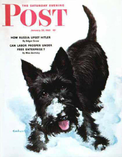 Saturday Evening Post Copyright 1943 Scotty In Snow | Vintage Ad and Cover Art 1891-1970