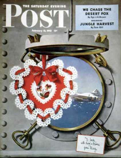 Saturday Evening Post Copyright 1943 Valentines Day Sea | Vintage Ad and Cover Art 1891-1970