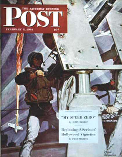 Saturday Evening Post Copyright 1944 Anti-Aircraft | Vintage Ad and Cover Art 1891-1970
