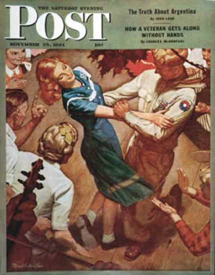 Saturday Evening Post Copyright 1944 Barn Dance | Vintage Ad and Cover Art 1891-1970