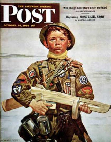Saturday Evening Post Copyright 1944 Commando Kid Scott | Vintage Ad and Cover Art 1891-1970