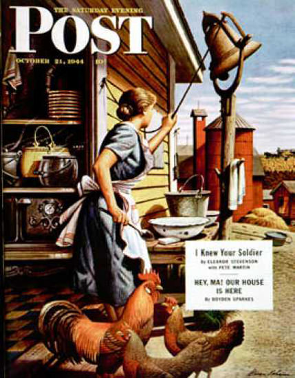 Saturday Evening Post Copyright 1944 Dinner Bell Dohanos | Vintage Ad and Cover Art 1891-1970