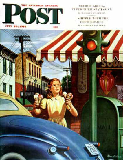 Saturday Evening Post Copyright 1944 Girl Dripping Cones | Vintage Ad and Cover Art 1891-1970