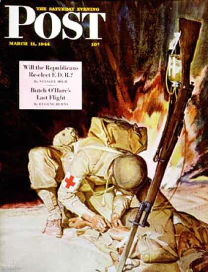 Saturday Evening Post Copyright 1944 Injured In Field | Vintage Ad and Cover Art 1891-1970