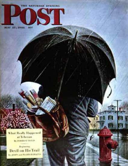 Saturday Evening Post Copyright 1944 Mailman In The Rain | Vintage Ad and Cover Art 1891-1970