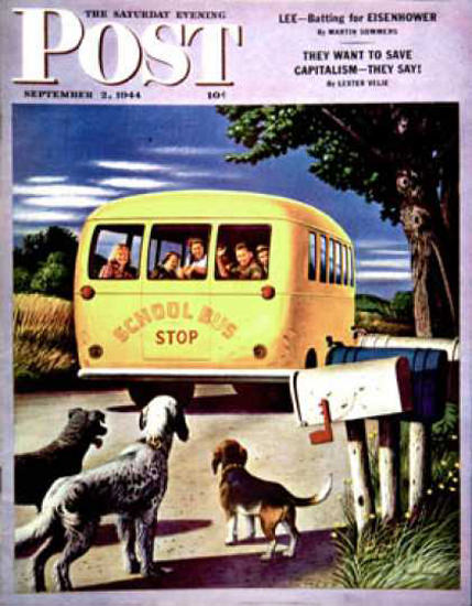 Saturday Evening Post Copyright 1944 School Bus Dohanos | Vintage Ad and Cover Art 1891-1970