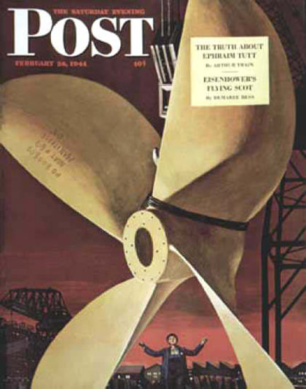 Saturday Evening Post Copyright 1944 Ships Propeller | Vintage Ad and Cover Art 1891-1970