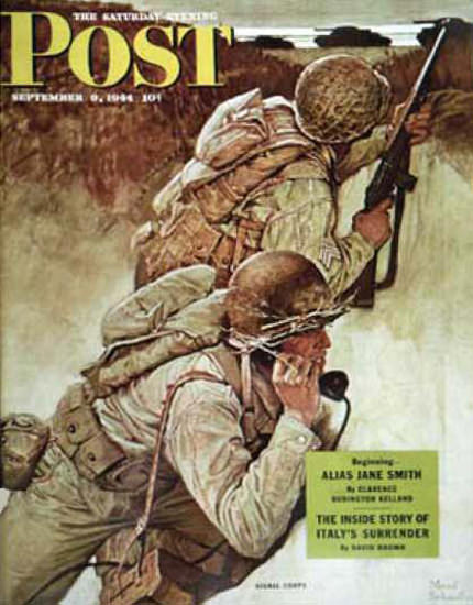 Saturday Evening Post Copyright 1944 Signal Corpsmen | Vintage Ad and Cover Art 1891-1970
