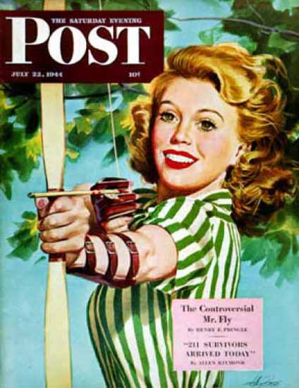 Saturday Evening Post Copyright 1944 Woman Archer | Sex Appeal Vintage Ads and Covers 1891-1970