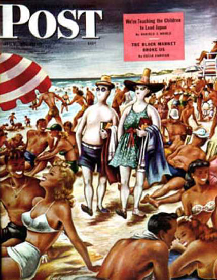Saturday Evening Post Copyright 1946 Palefaces At Beach | Sex Appeal Vintage Ads and Covers 1891-1970
