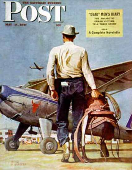 Saturday Evening Post Copyright 1947 Flying Cowboy | Sex Appeal Vintage Ads and Covers 1891-1970