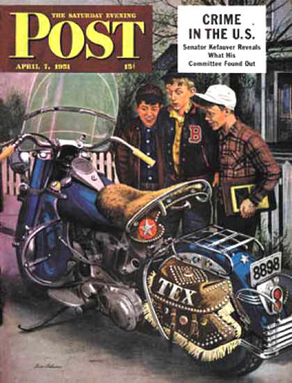 Saturday Evening Post Copyright 1951 Texs Motorcycle | Vintage Ad and Cover Art 1891-1970