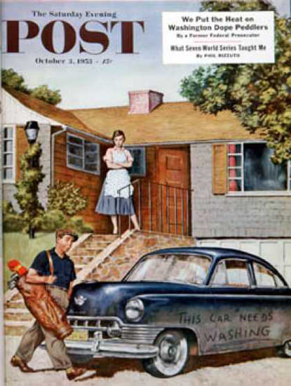 Saturday Evening Post Copyright 1953 Car Needs Washing | Vintage Ad and Cover Art 1891-1970