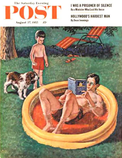 Saturday Evening Post Copyright 1955 Wading Pool Sewell | Vintage Ad and Cover Art 1891-1970