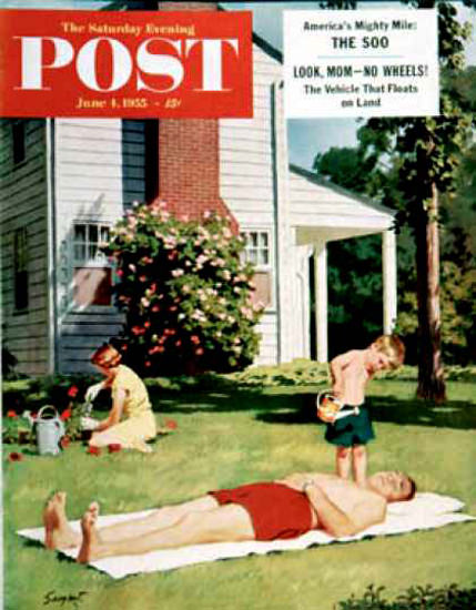 Saturday Evening Post Copyright 1955 Watering Father | Vintage Ad and Cover Art 1891-1970