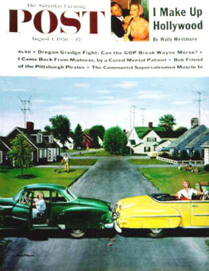 Saturday Evening Post Copyright 1956 Backup Collision | Vintage Ad and Cover Art 1891-1970