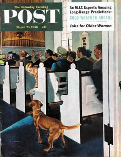 Saturday Evening Post Copyright 1956 Dog In The Church | Vintage Ad and Cover Art 1891-1970