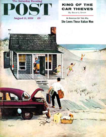 Saturday Evening Post Copyright 1956 First Day At Beach | Vintage Ad and Cover Art 1891-1970