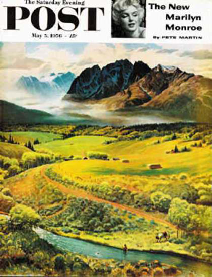 Saturday Evening Post Copyright 1956 Mountain Fly Fishing   Vintage Ad and Cover Art 1891-1970