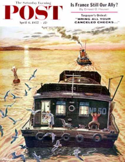 Saturday Evening Post Copyright 1957 Barges Ben K Prins | Vintage Ad and Cover Art 1891-1970
