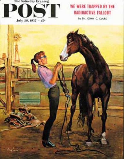 Saturday Evening Post Copyright 1957 Girl Putting On Bridle | Sex Appeal Vintage Ads and Covers 1891-1970