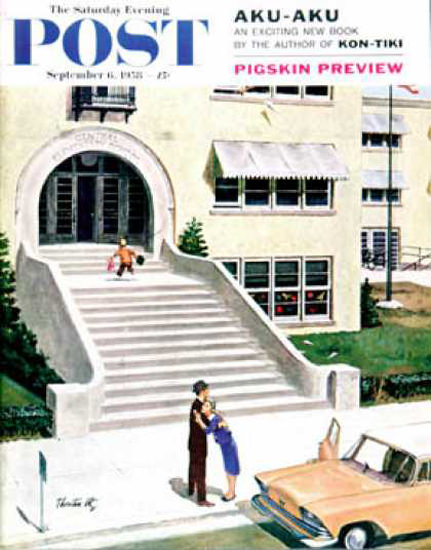 Saturday Evening Post Copyright 1958 First Day Of School | Vintage Ad and Cover Art 1891-1970