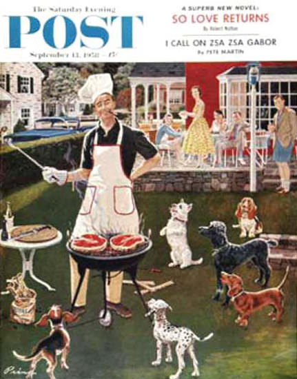 Saturday Evening Post Copyright 1958 Hot Dogs B K Prins | Vintage Ad and Cover Art 1891-1970
