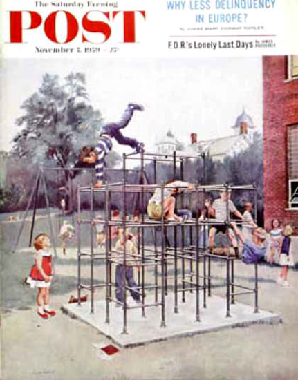 Saturday Evening Post Copyright 1959 Jungle Gym Hughes | Vintage Ad and Cover Art 1891-1970