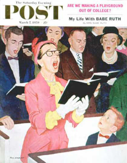 Saturday Evening Post Copyright 1959 Singing Praise | Vintage Ad and Cover Art 1891-1970