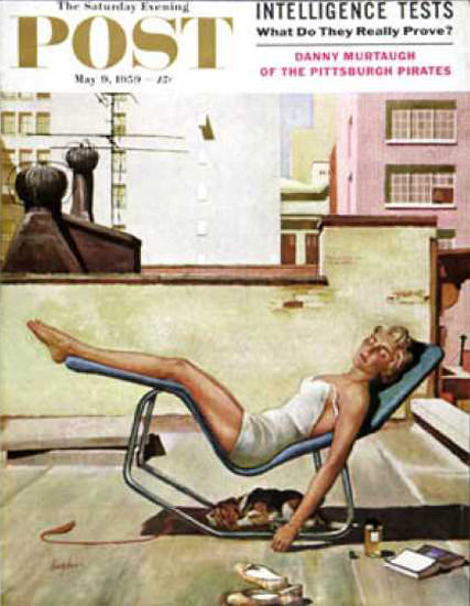 Saturday Evening Post Copyright 1959 The Girl Up On Roof | Sex Appeal Vintage Ads and Covers 1891-1970