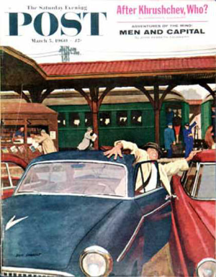 Saturday Evening Post Copyright 1960 Cramped Parking | Vintage Ad and Cover Art 1891-1970