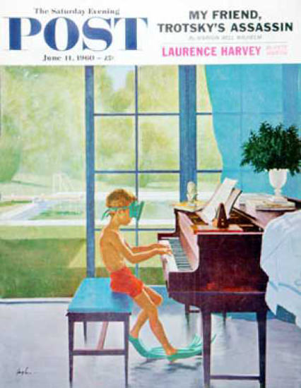 Saturday Evening Post Copyright 1960 Poolside Piano | Vintage Ad and Cover Art 1891-1970