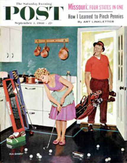 Saturday Evening Post Copyright 1960 Putting In Kitchen | Vintage Ad and Cover Art 1891-1970