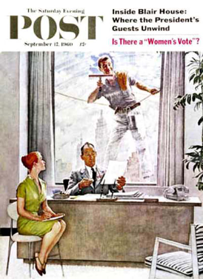 Saturday Evening Post Copyright 1960 Window Washer | Vintage Ad and Cover Art 1891-1970
